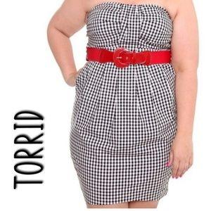 TORRID gingham checked strapless retro dress